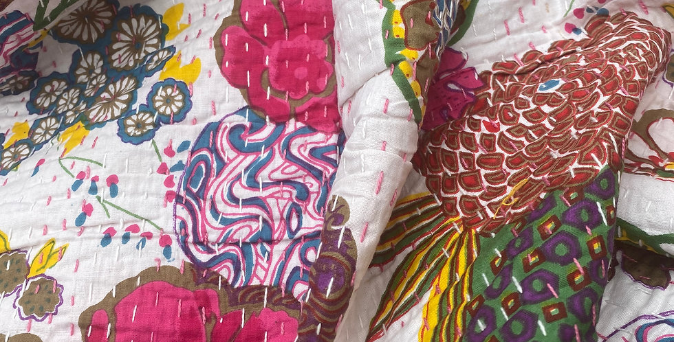 Handstitched Cotton Kantha Throw/Tablecloth.