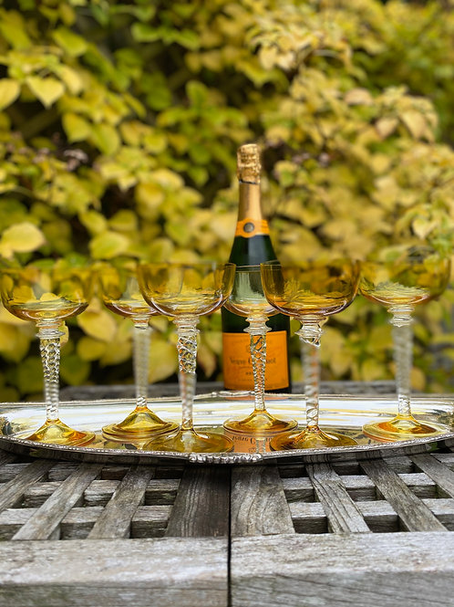 6 Deco Amber Glass Coupes