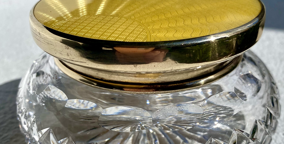 Art Deco Guilloche Enamel Crystal Trinket Bowl