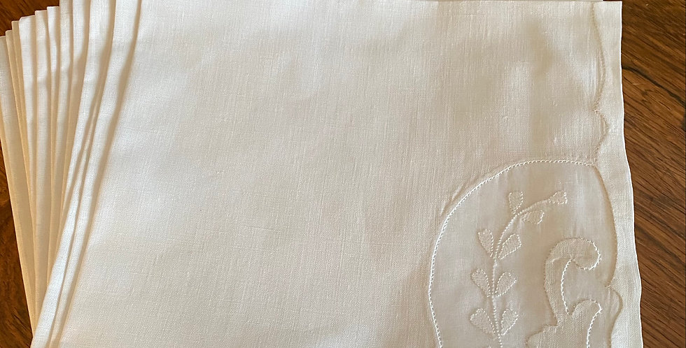 12 Fine Linen Hand embroidered Napkins