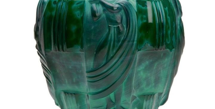 Art Deco Malachite Glass Vase