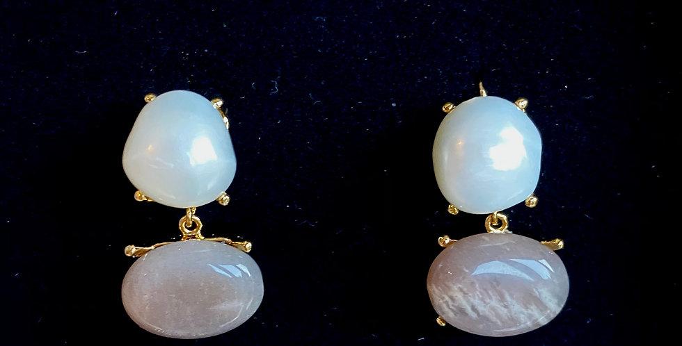 Handmade Natural Pearl &Gemstone Earrings