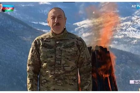 İlham Əliyev Cıdır düzündə Novruz tonqalı qalayıb