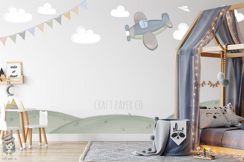 Uçak ve Bayrak Duvar Kağıdı