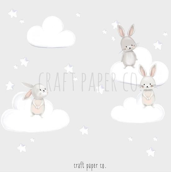 Tavşan Arkadaşlar ve Pofidik Bulutlar Duvar Etiketi Seti