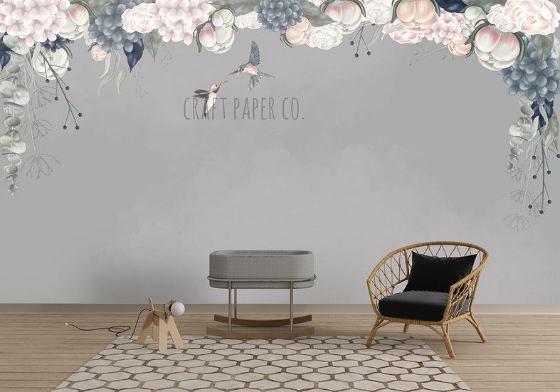 Çiçekler ve Kuşlar Duvar Kağıdı (Açık Gri)