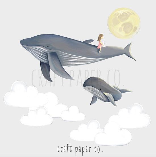 Girl Flying On Whales Duvar Etiketi Seti