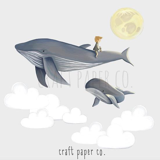 Boy Flying On Whales Duvar Etiketi Seti