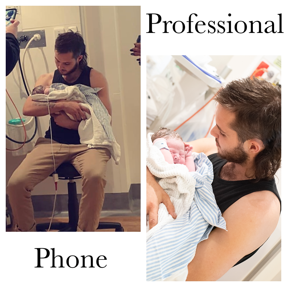 image-comparison-of-a-cell-phone-against-a-professional-birth-photographer-image-new-dad-holding-son-wrapped-in-blue-stiped-blanket