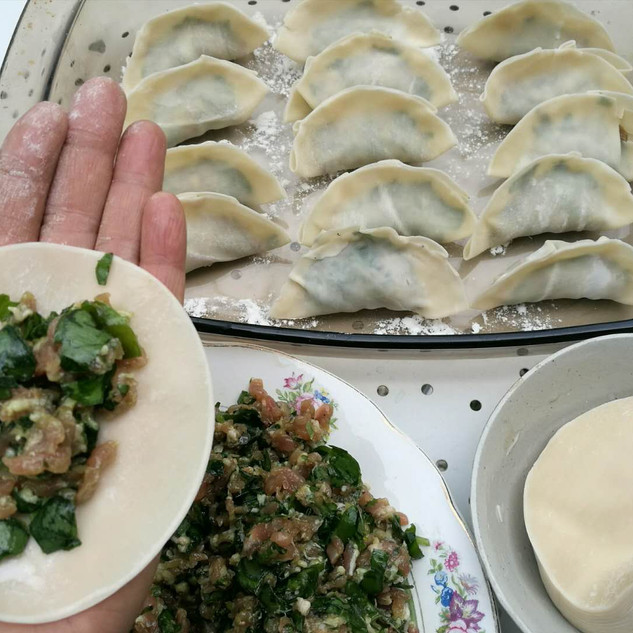 Raviolie chinois farci avec viand et l'ail des ours ou ciboulette chinoise