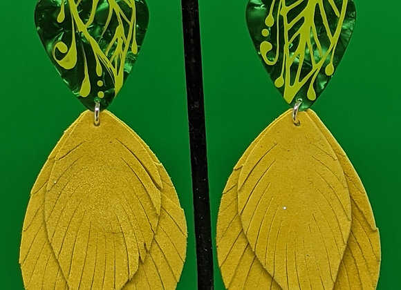 Serpentine Leather Leaf Guitar Pick Earrings