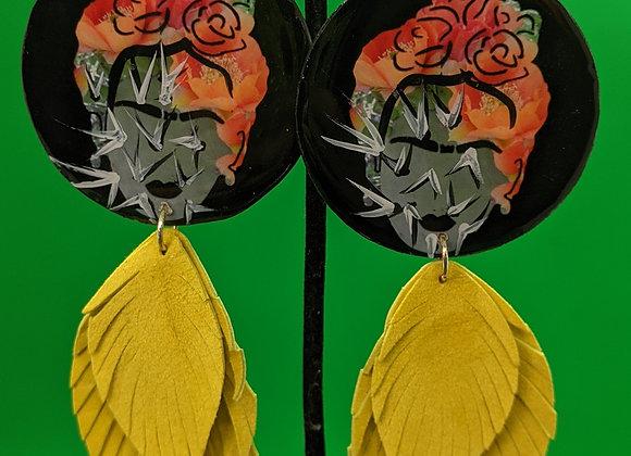 Nopales Frida Leather Leaf Fringe Earrings