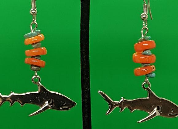 Turquoise Corral Shark Earrings