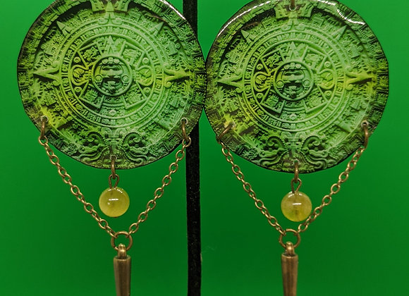 Green Aztec Calendar Earrings
