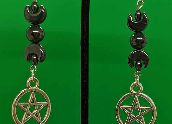 Pentagram Moon Goddess Earrings