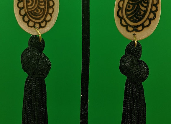 Black Precious Paisley Fringe Earrings