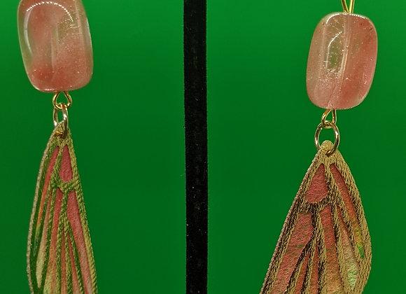 Strawberry Quartz Fairy Wing Earrings