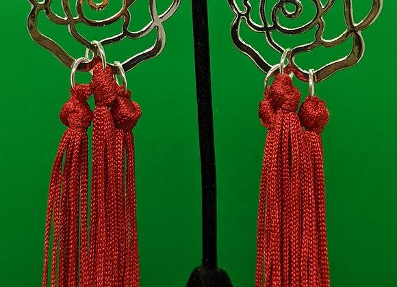 Red Rose Fringe Earrings
