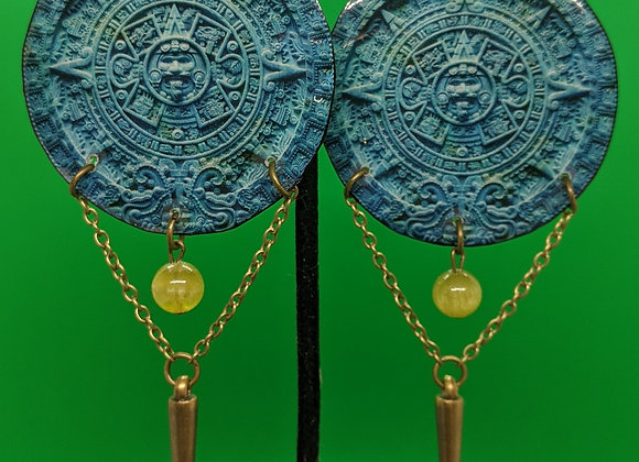Blue Aztec Calendar Earrings