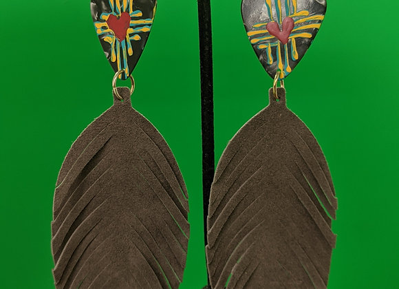 Leather Feather Zia Pick Earrings