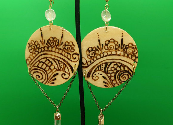 Quartz Woodburn Earrings