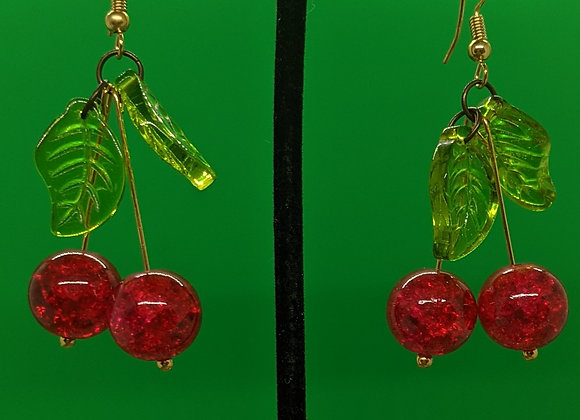 Glass Cherry Earrings