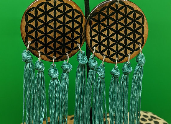 Flower of Life Turquoise Fringe Earrings
