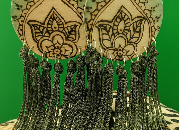 Spiny Oyster Shell Woodburn Mandala Earrings