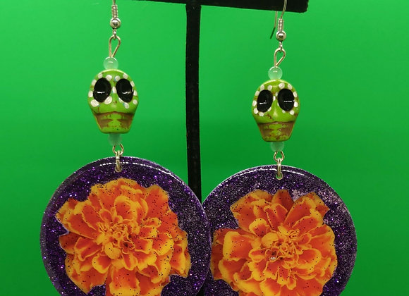 Marigold Earrings with Green Skulls