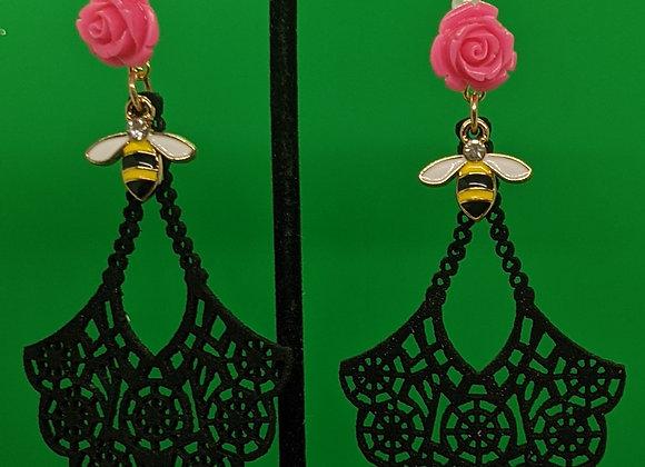 Bees and Flowas Earrings