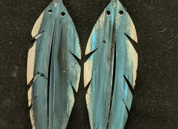 Hand Painted Wood Feather Earrings (Teal)