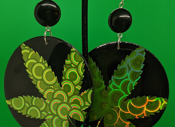 XL Onyx Pot Leaf Earrings