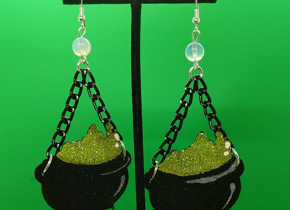 Green Felt Caldron Earrings