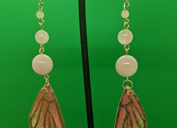 Rose Quartz Butterfly Wing Earrings (Pink)