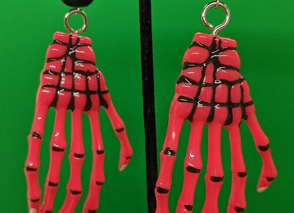 Pink Skeleton Hands Earrings