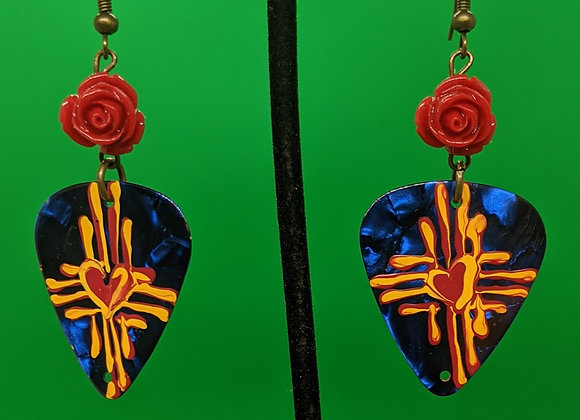 Rose Zia Guitar Pick Earrings