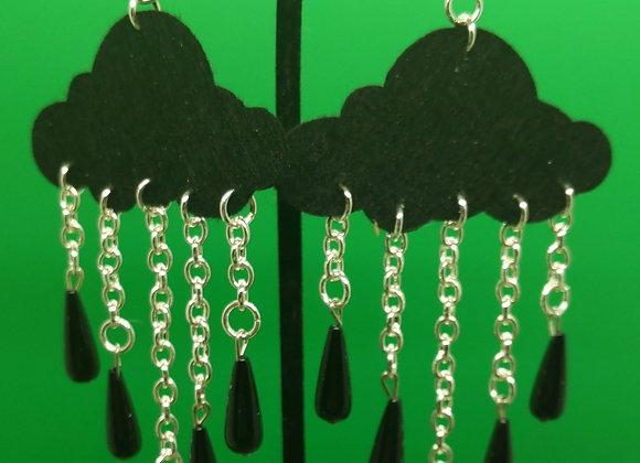 Felt Onyx Raincloud Earrings