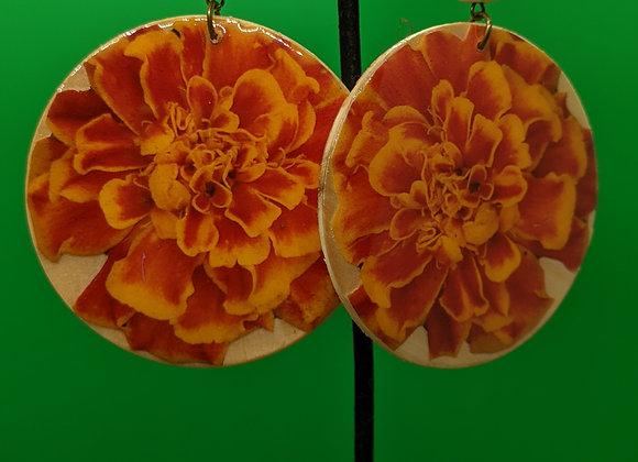 Large Calavera Marigold Earrings