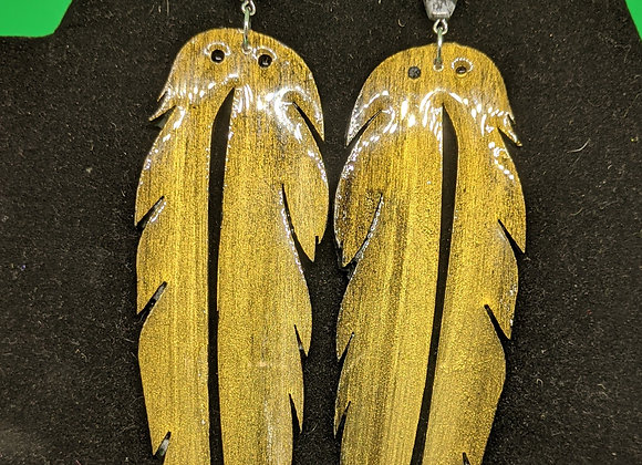 Hand Painted Feather Earrings (Gold)
