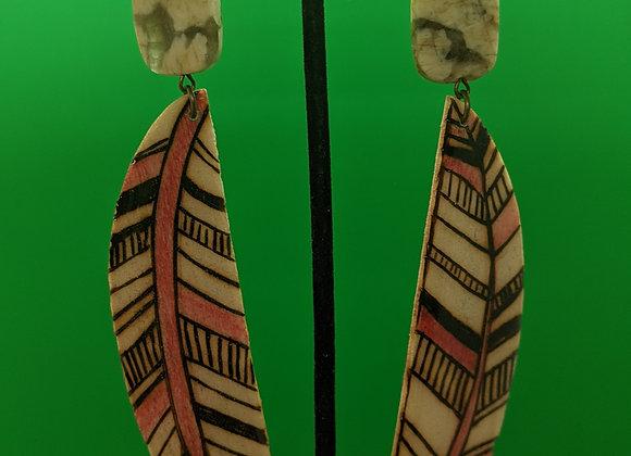 Quartz Woodburn Feather Earrings