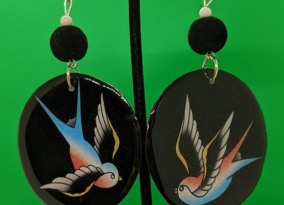 Sparrow Tattoo Earrings