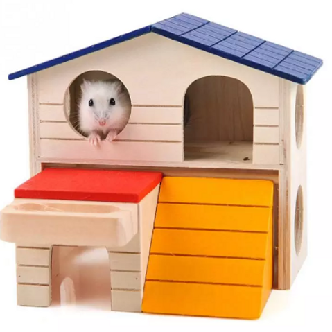 Hamster Wooden Two-Layer Pet House