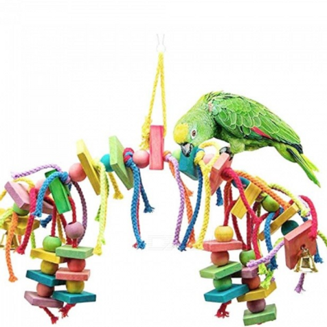 Bird Colorful Wood Swing Toy