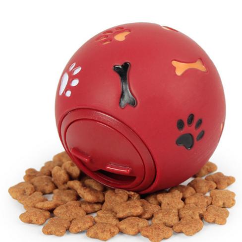 Dog Rubber Ball Food Dispenser Dental Teething Training Toy