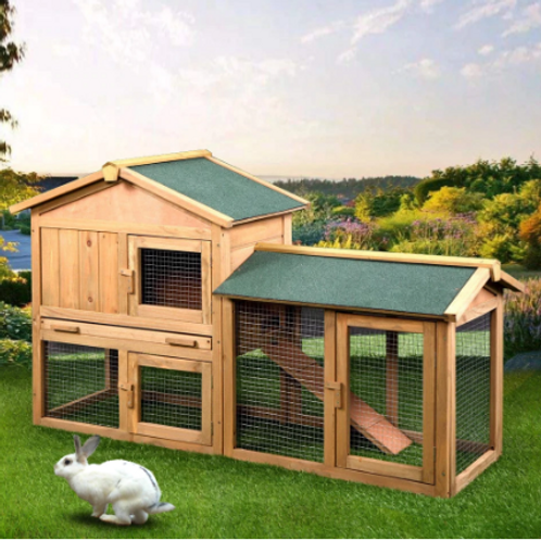 "61"" Wooden Chicken Coop Hen House Large 2 Layer Rabbit Hutch Poultry Cage"