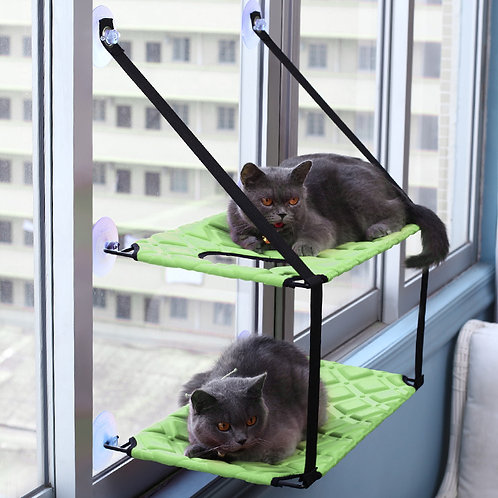 pawstrip 3 Colors Double Layer Cat Hammock Bed Window Cat Lounger Big Suction
