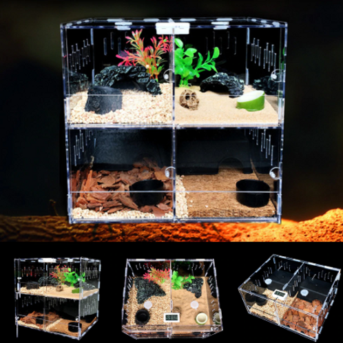 Reptile Tank Breeding Box 4 Grid Acrylic Terrarium