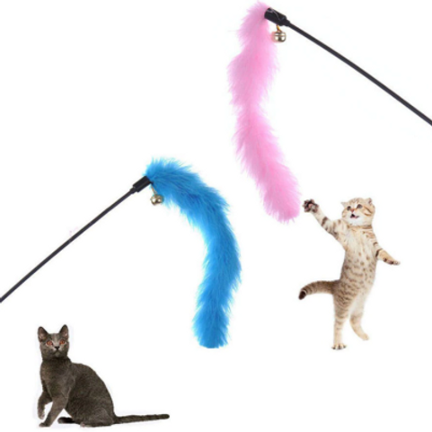 2PCS Turkey Feather Wand Stick Toys For Cats