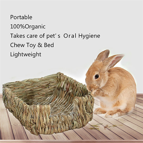 New Arrival Hamster Cage Small Pets Handcraft Woven Natural Grass Bed Mats