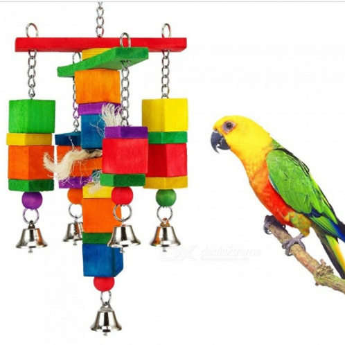 Colorful Bird Chewing Toy Block Natural Wood